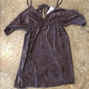 Brand new gray velvet off shoulder dress